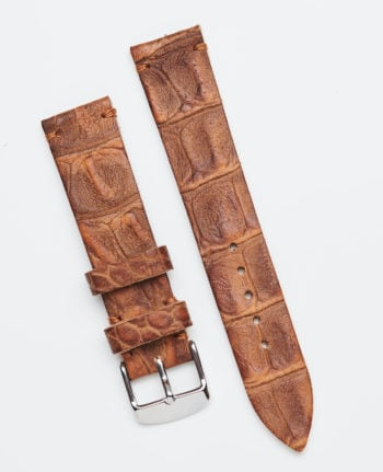 Light brown watch strap with crocodile pattern 20mm