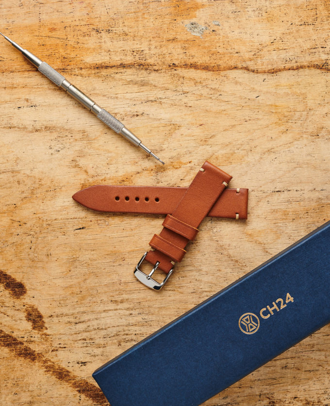 Light brown watch strap made of vegetable tanned leather 20 mm