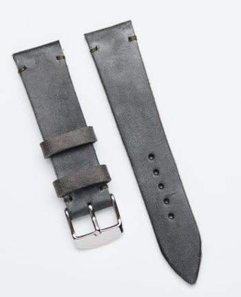 Gray pull-up leather watch strap 20 mm