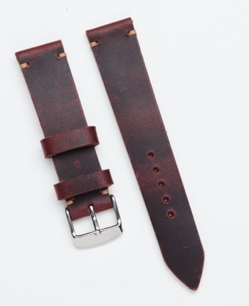 Burgundy watch strap made of crazy horse leather 20 mm