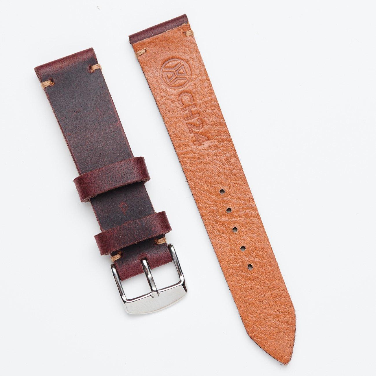 Pasek ze skóry typu crazy horse w odcieniu burgunda 20 mm
