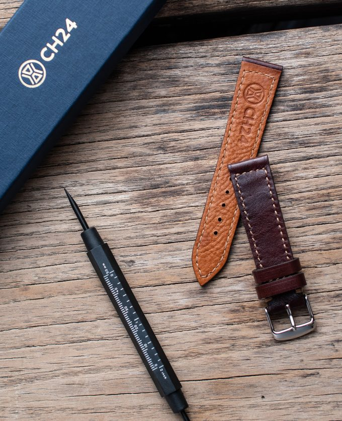 Dark brown watch strap made of patinated leather Testa di Moro 20mm