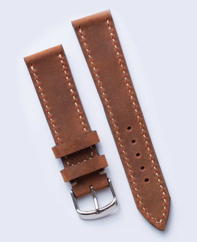 Brown watch strap made of oiled leather Crazy Horse 20mm