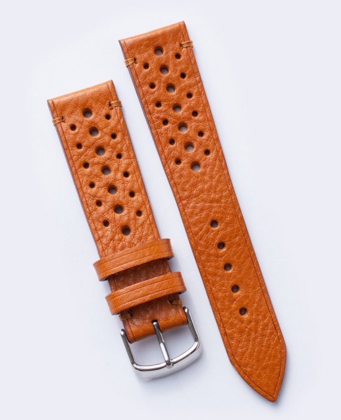 Light brown, perforated watch strap with vegetable tanned Italian leather 20mm