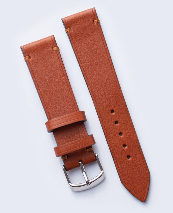 Light brown watch strap made of Barenia leather from Tannery Haas 20mm