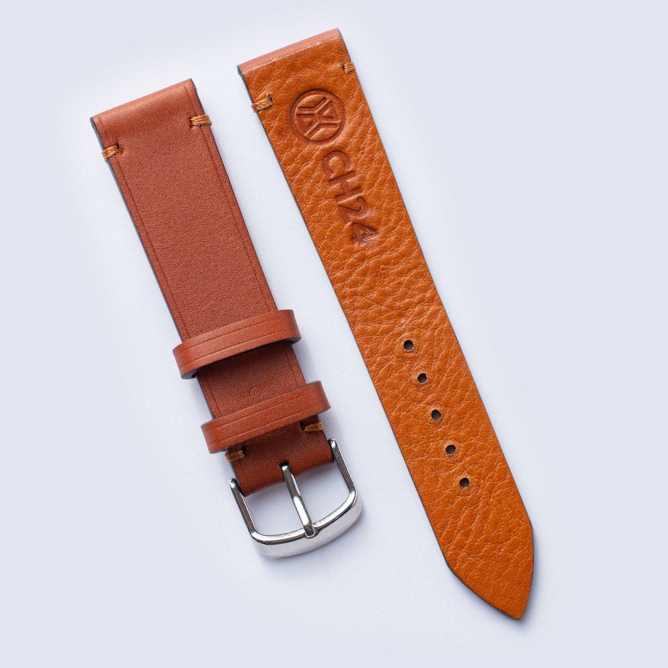 Jasnobrązowy pasek do zegarka ze skóry Barenia z garbarni Haas 20 mm